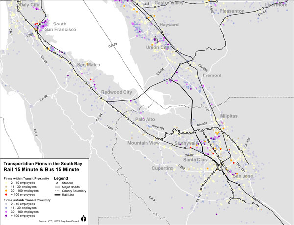 South Bay Transportation and Warehousing Firms Proximity to Transit